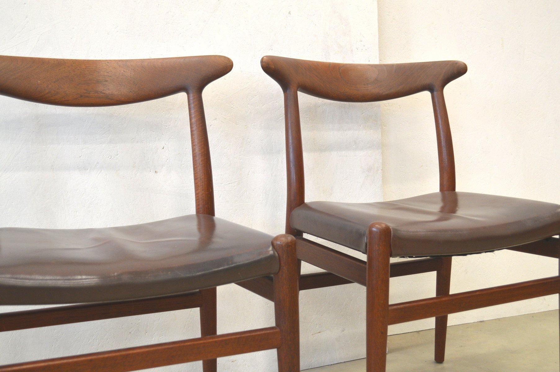 chaises de salle manger w2 par hans wegner pour c m. Black Bedroom Furniture Sets. Home Design Ideas