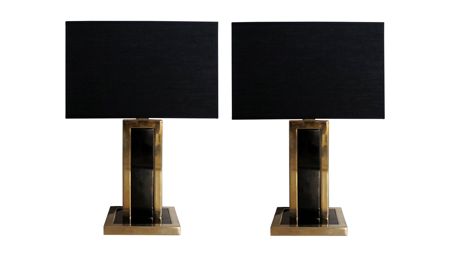 Vintage Black Metal U0026 Brass Table Lamps, Set Of 2