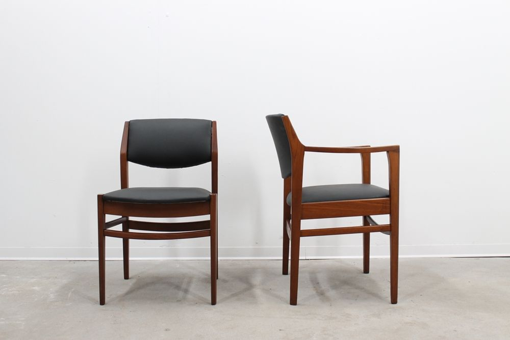 Italian Mid Century Teak And Eco Leather Dining Chairs
