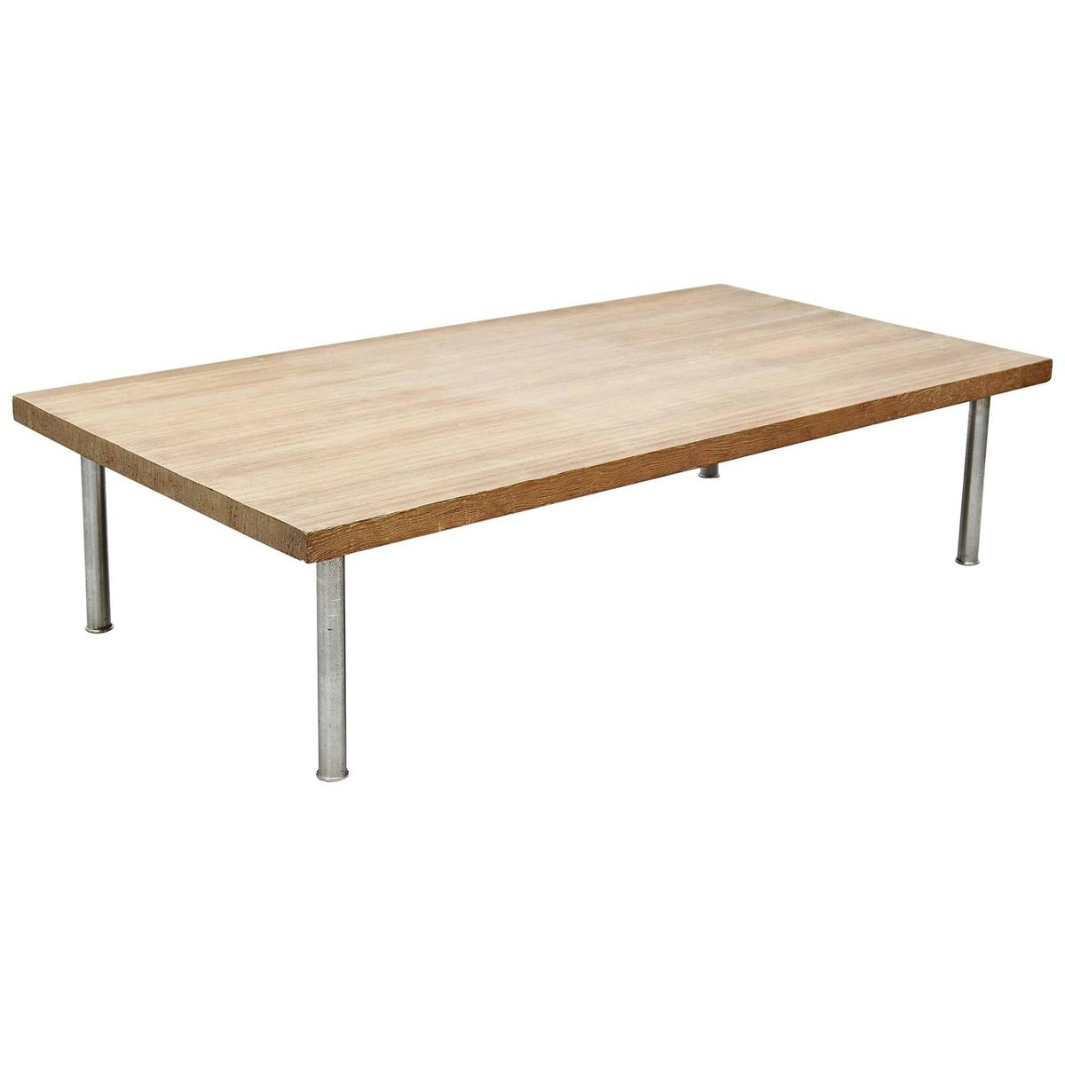 French Wood Coffee Table: French Wood & Steel Coffee Table, 1950s For Sale At Pamono