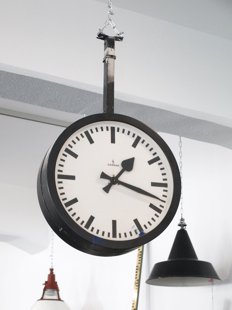 Vintage German Double Sided Train Station Clock From Siemens For Sale At Pamono