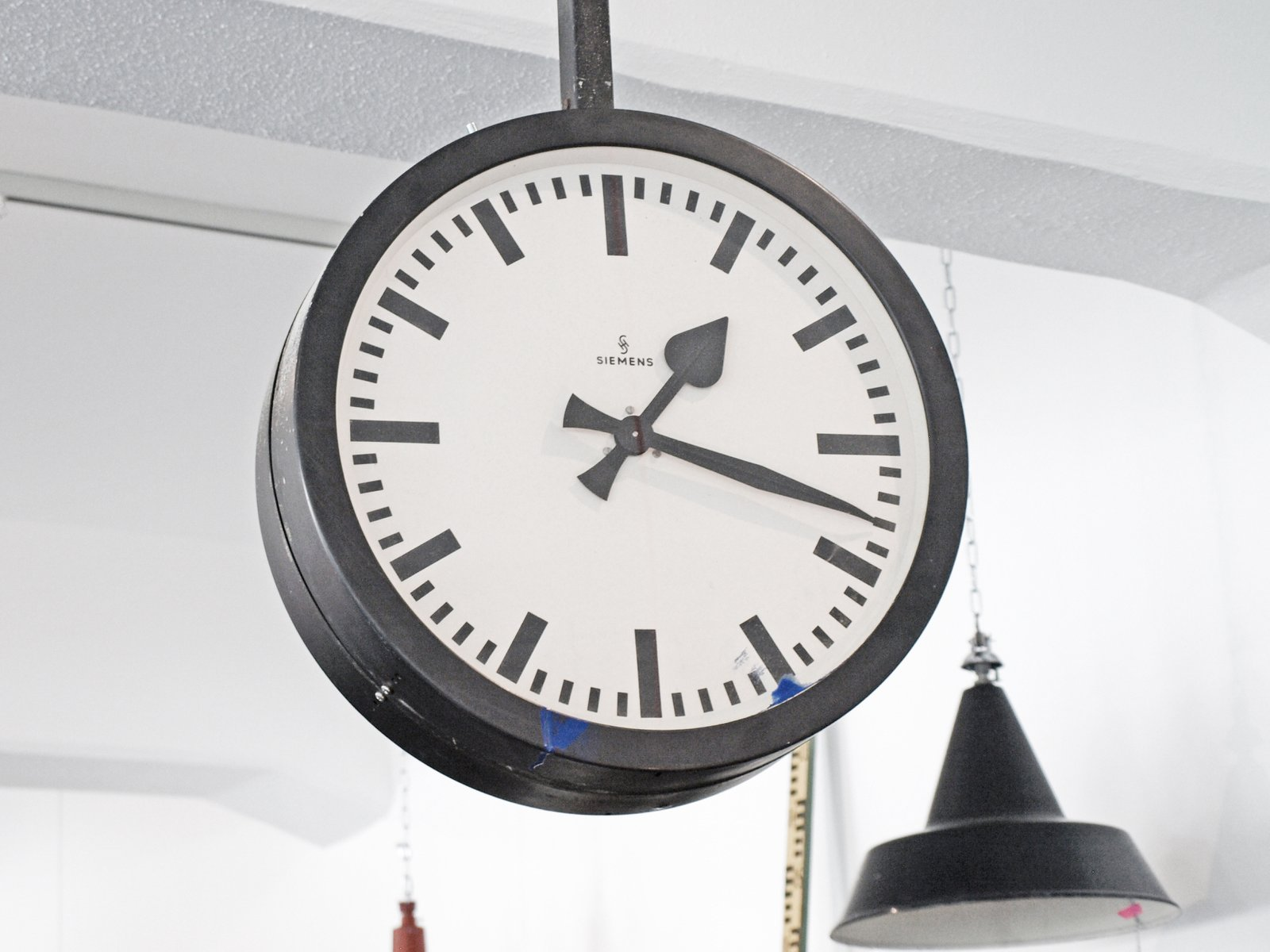 Vintage German Double Sided Train Station Clock From