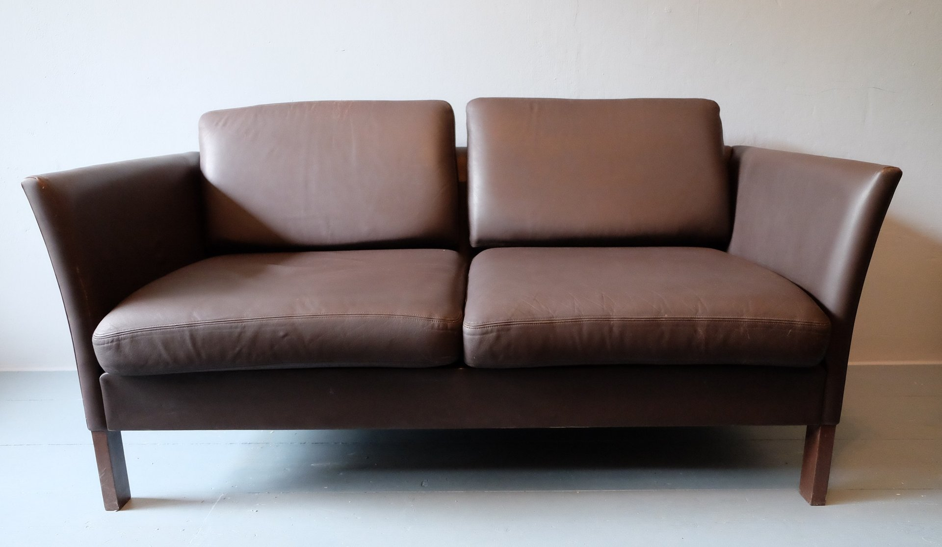 danish leather sofa loveseat 1970s for sale at pamono. Black Bedroom Furniture Sets. Home Design Ideas