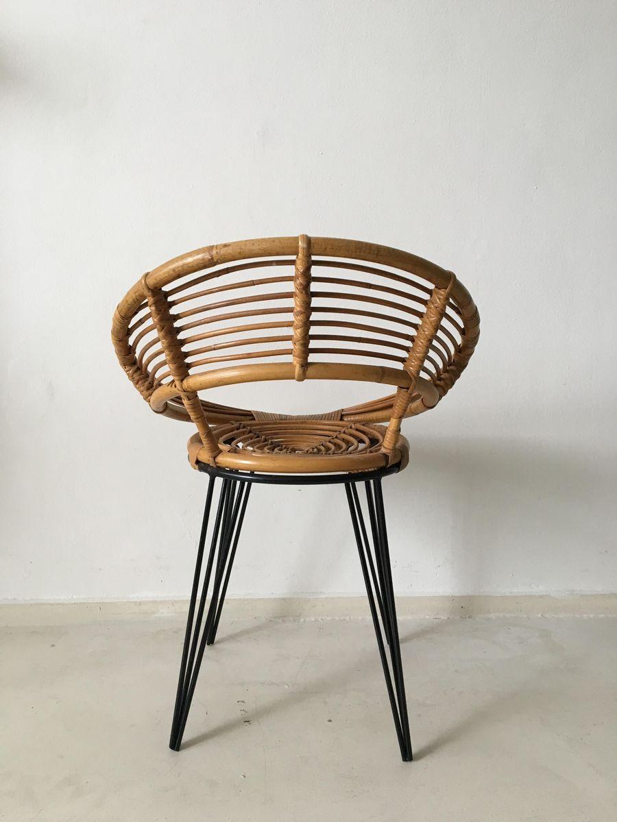 Chaise en rotin avec pied epingles en m tal pays bas - Chaise pied metal ...
