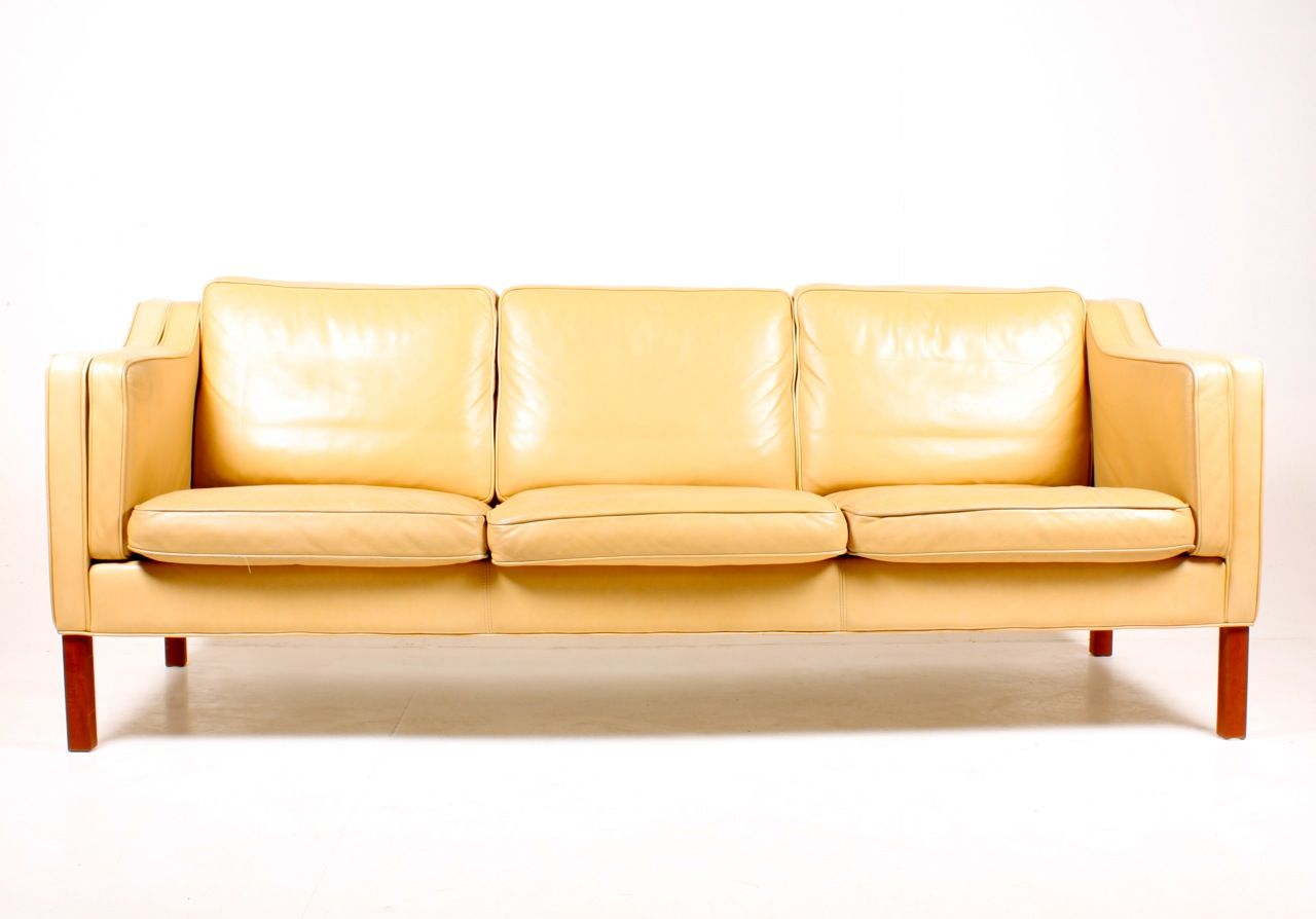 Danish Tan Leather Three Seater Sofa 1980s For Sale At Pamono