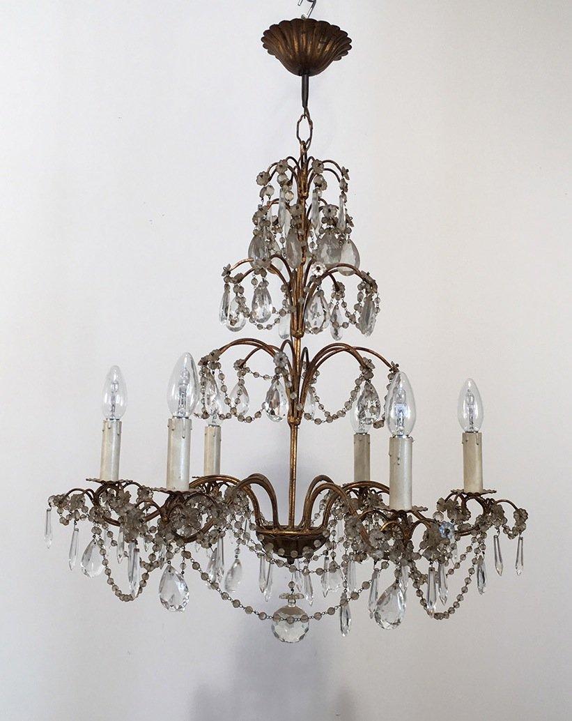 lustre vintage en cristal et en m tal dor en vente sur pamono. Black Bedroom Furniture Sets. Home Design Ideas