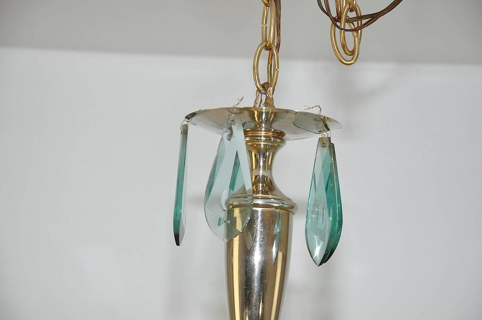 Italian Brass And Glass Chandelier 1950 For Sale At Pamono