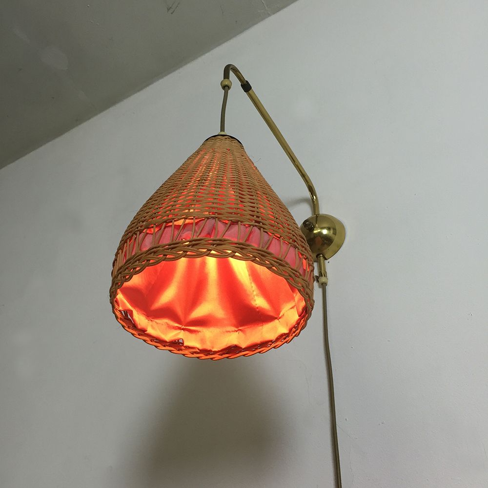 Wall Mounted Extendable Lamp : Extendable Wall Light with a Wicker Shade, 1950s for sale at Pamono