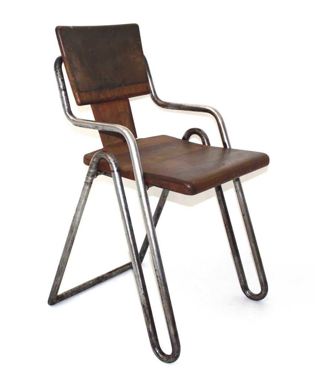 Vintage tubular steel chair by peter behrens 1930s for for Metal design chair