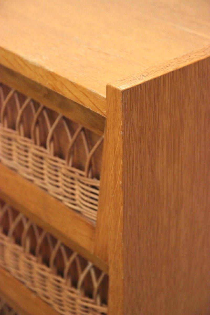franz sische kommode aus holz korbgeflecht 1970er bei pamono kaufen. Black Bedroom Furniture Sets. Home Design Ideas
