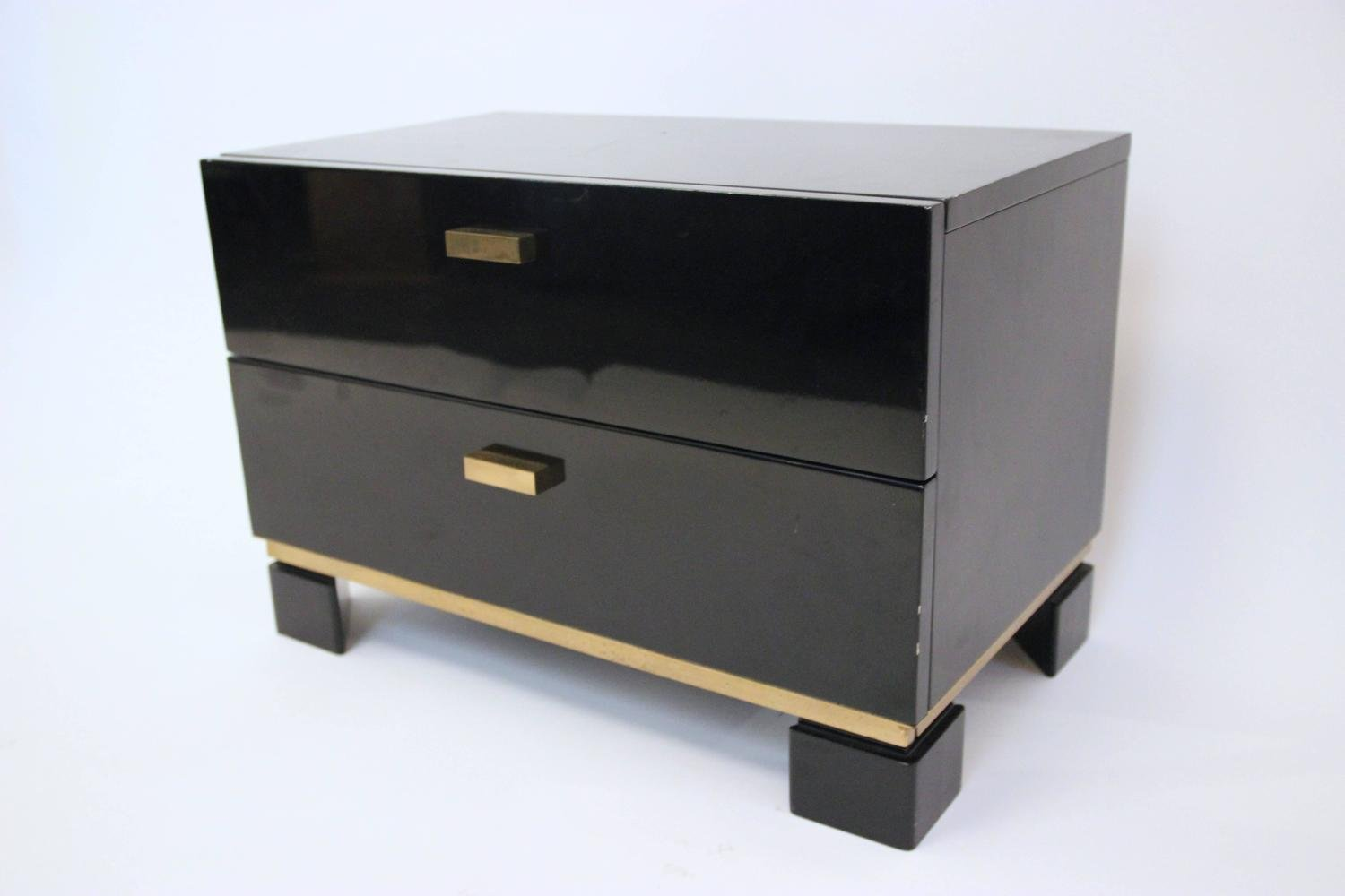 French lacquered wood gilt brass chests of drawers