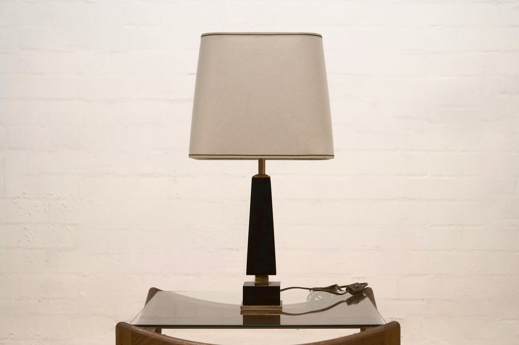 Mid century black resin and brass table lamp 1960s for for Z gallerie century table lamp