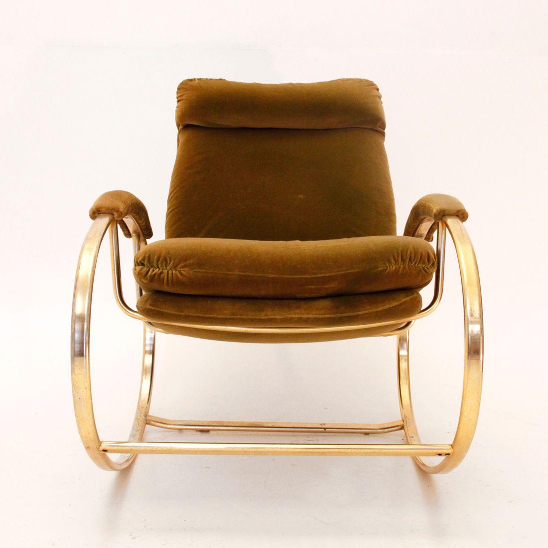italienischer schaukelstuhl mit messing rohrgestell bei pamono kaufen. Black Bedroom Furniture Sets. Home Design Ideas