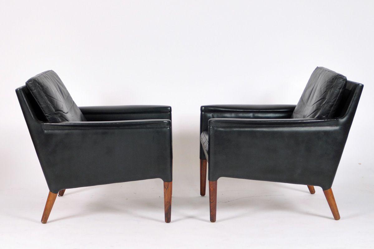 schwarze ledersessel von kurt stervig f r centrum m bler. Black Bedroom Furniture Sets. Home Design Ideas