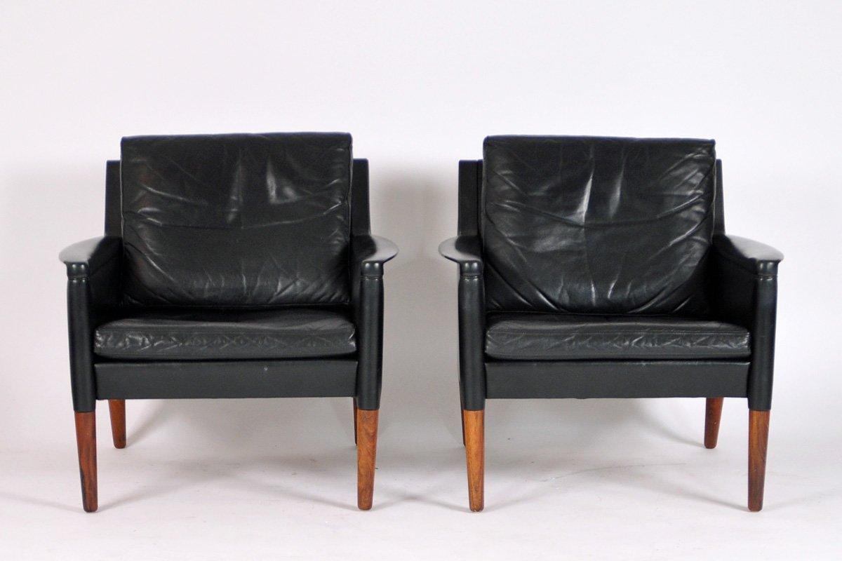 schwarze ledersessel von kurt stervig f r centrum m bler 2er set bei pamono kaufen. Black Bedroom Furniture Sets. Home Design Ideas