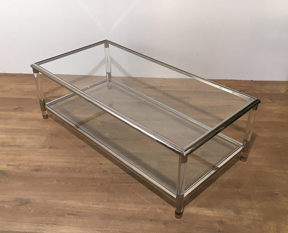 Table basse vintage en chrome et en plexiglas en vente sur pamono - Table basse en solde ...
