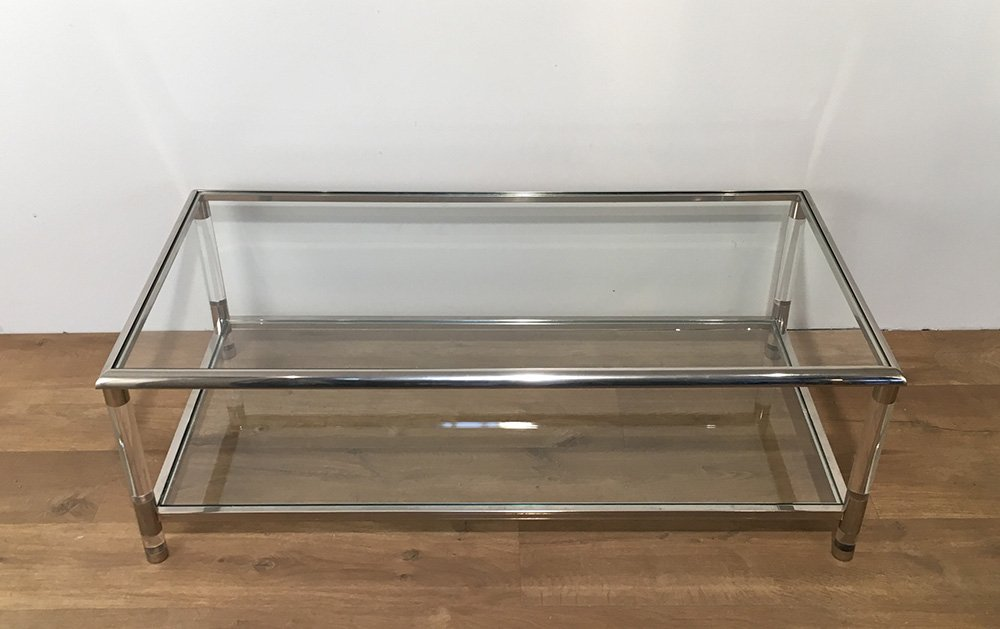 Vintage Chrome and Plexiglass Coffee Table - Vintage Chrome And Plexiglass Coffee Table For Sale At Pamono