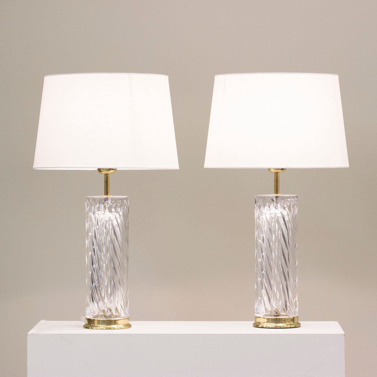 Crystal Table Lamps By Olle Alberius For Orrefors 1970s