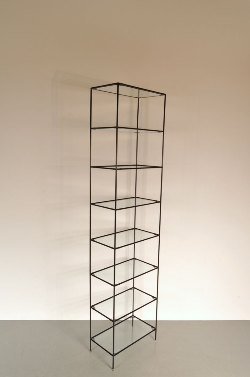 vintage metal glass shelf by poul cadovius for abstracta for sale at pamono. Black Bedroom Furniture Sets. Home Design Ideas