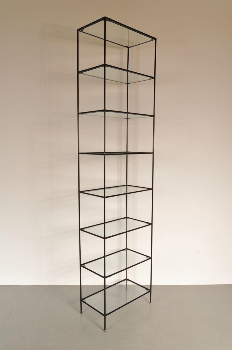 vintage metall glas regal von poul cadovius f r abstracta bei pamono kaufen. Black Bedroom Furniture Sets. Home Design Ideas