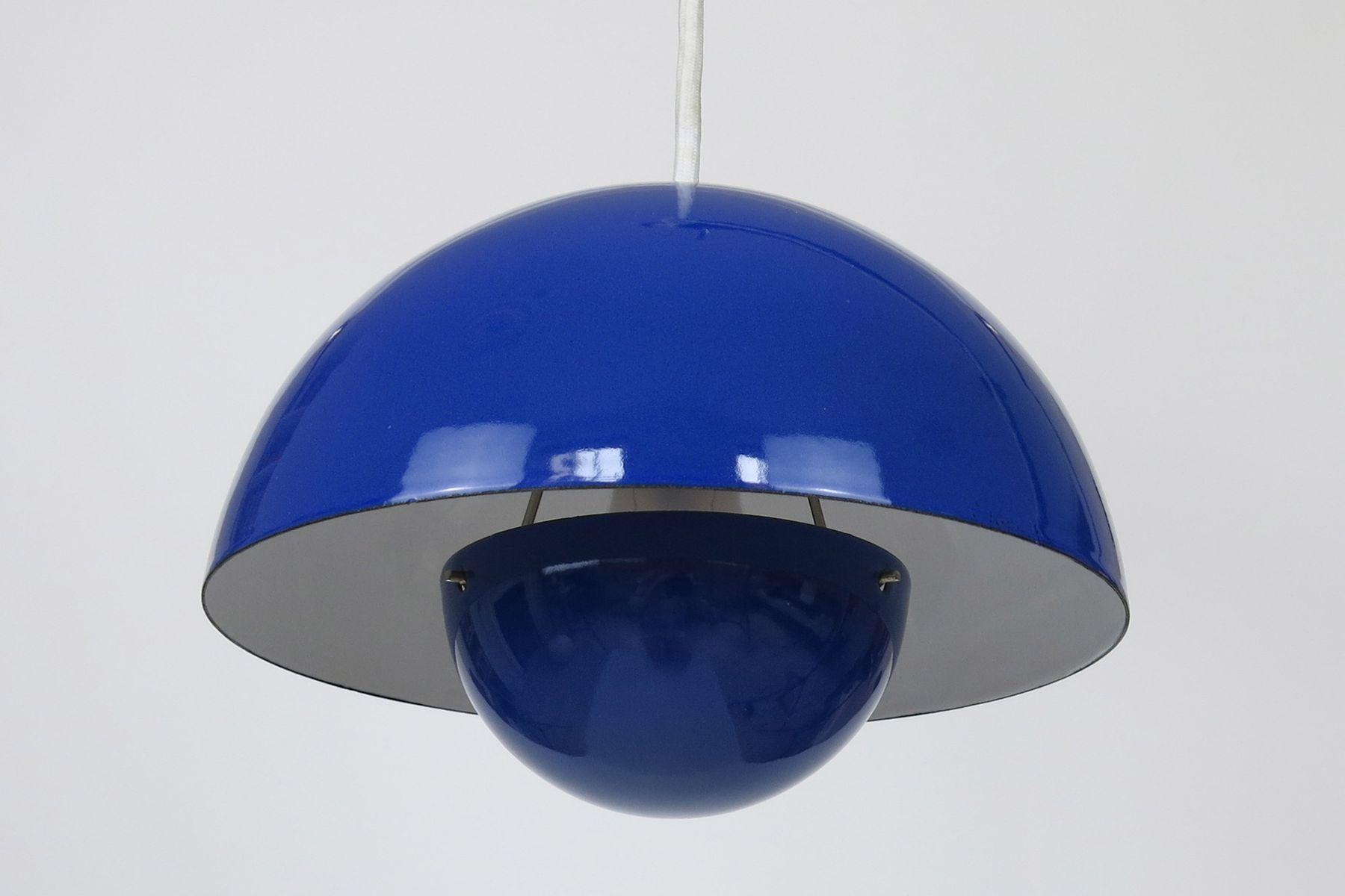 Blue Flowerpot Pendant Light By Verner Panton For Louis