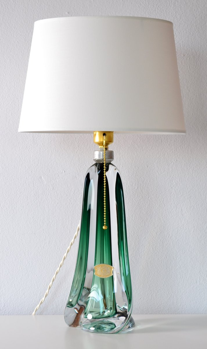 Mid century belgian emerald green crystal glass table lamp from mid century belgian emerald green crystal glass table lamp from val st lambert for sale at pamono arubaitofo Image collections