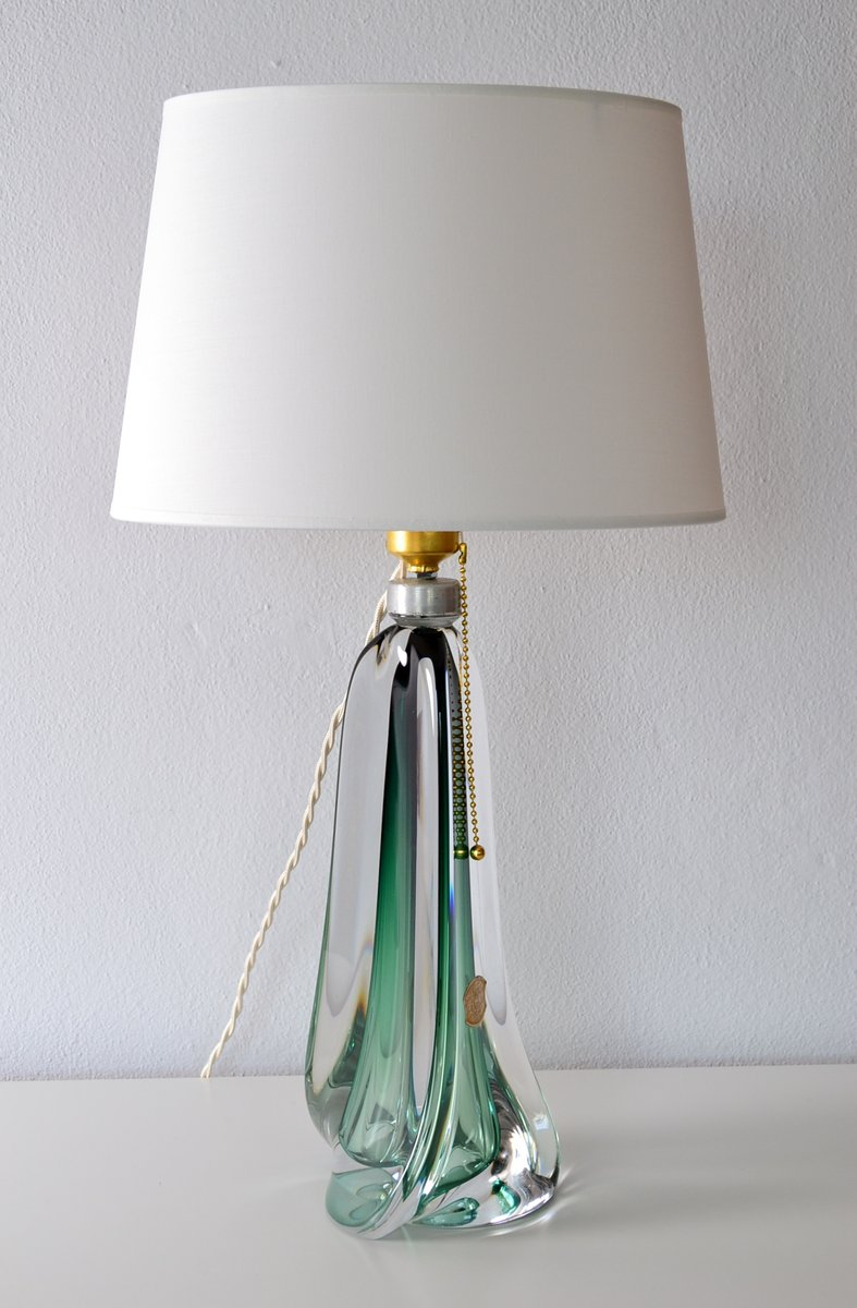 midcentury belgian emerald green crystal glass table lamp from val st lambert