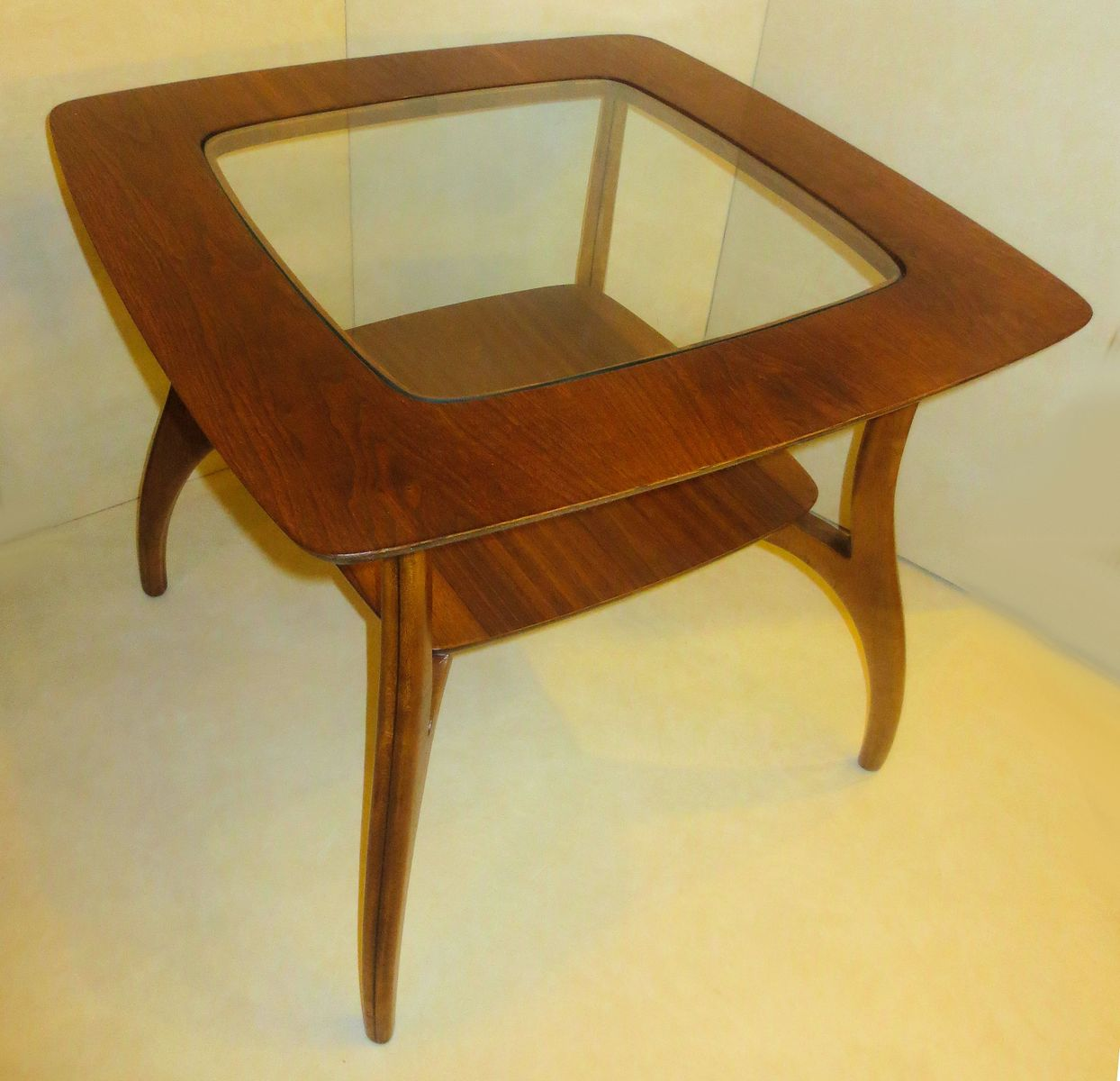 atomic legged walnut end table from bassett s for sale at pamono - price  regular price