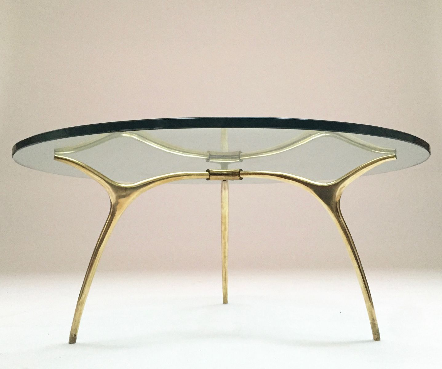 Sold Out Bruno Romeda Bronze And Glass Coffee Table