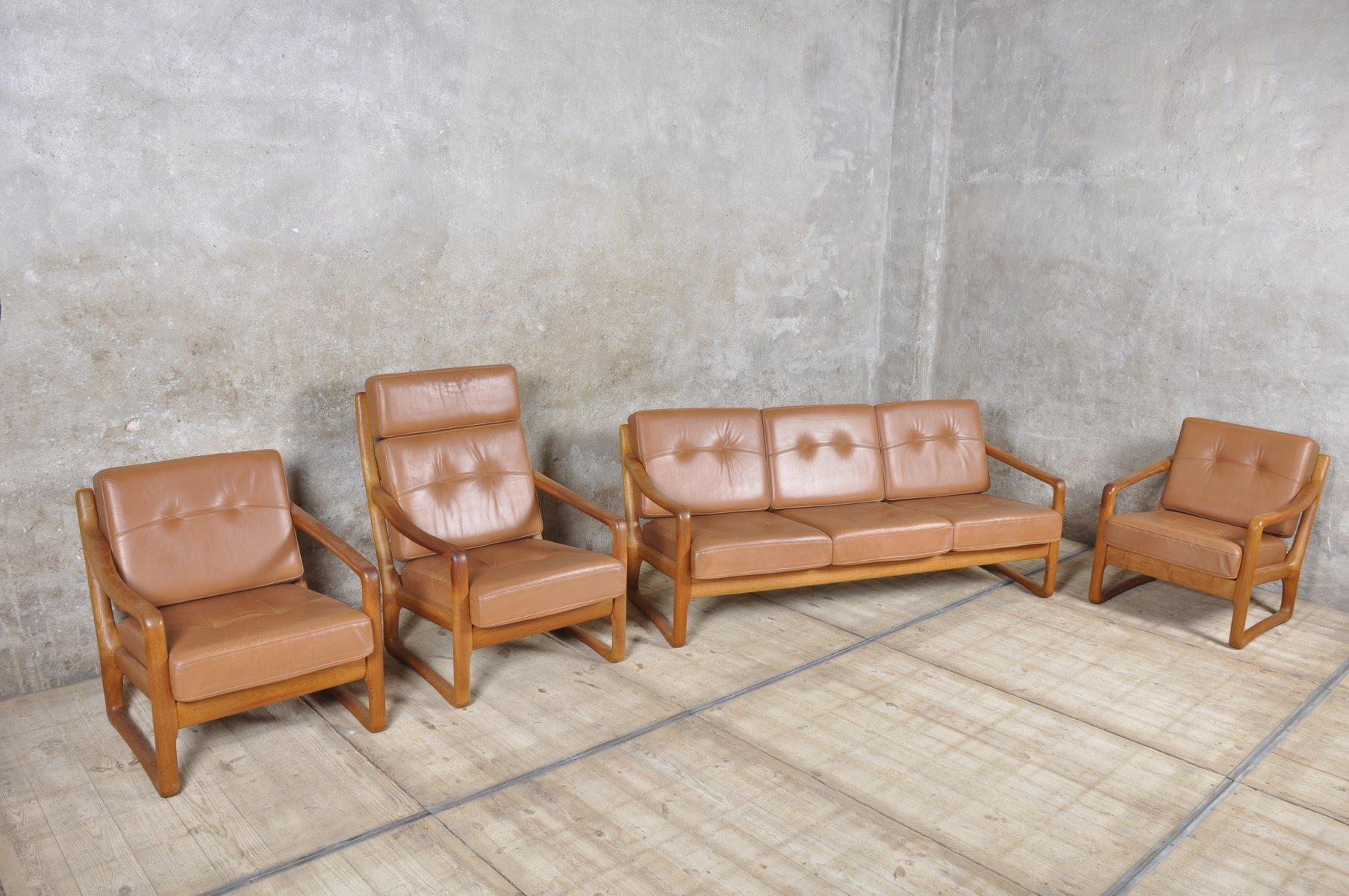 Danish Teak and Leather Living Room Set from Juul Kristensen for ...