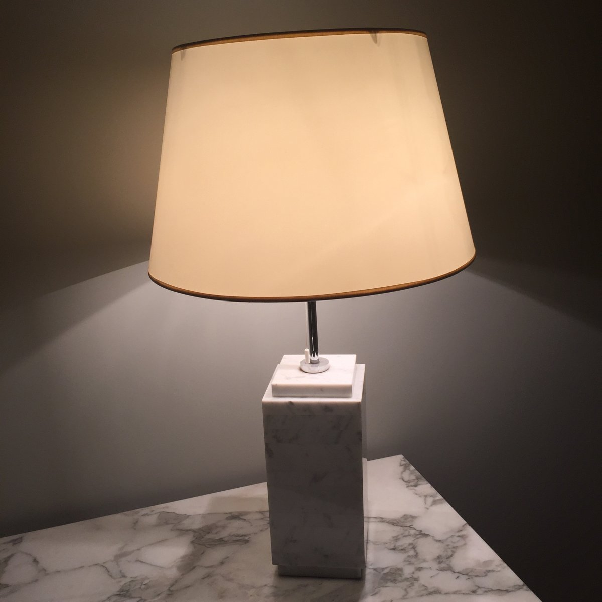 white carrara marble lamp from knoll - White Carrara Marble