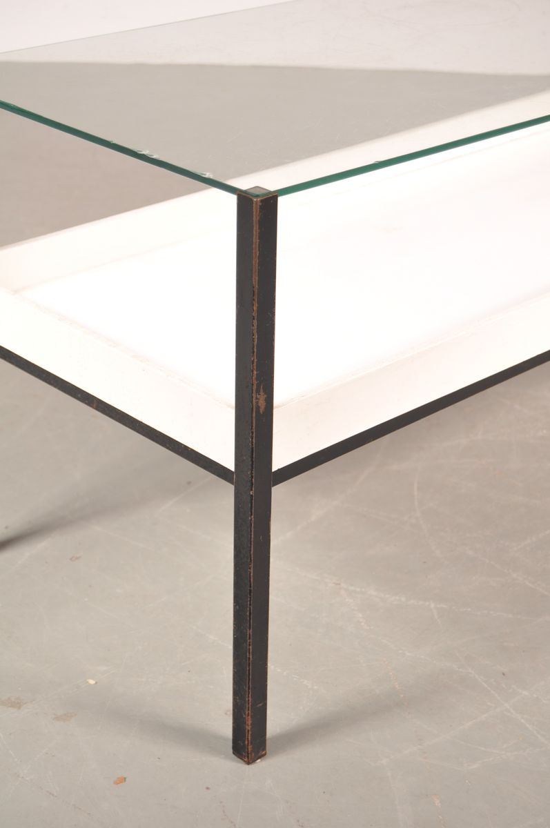 Dutch glass and white laminate coffee table 1960s for for White and glass coffee table