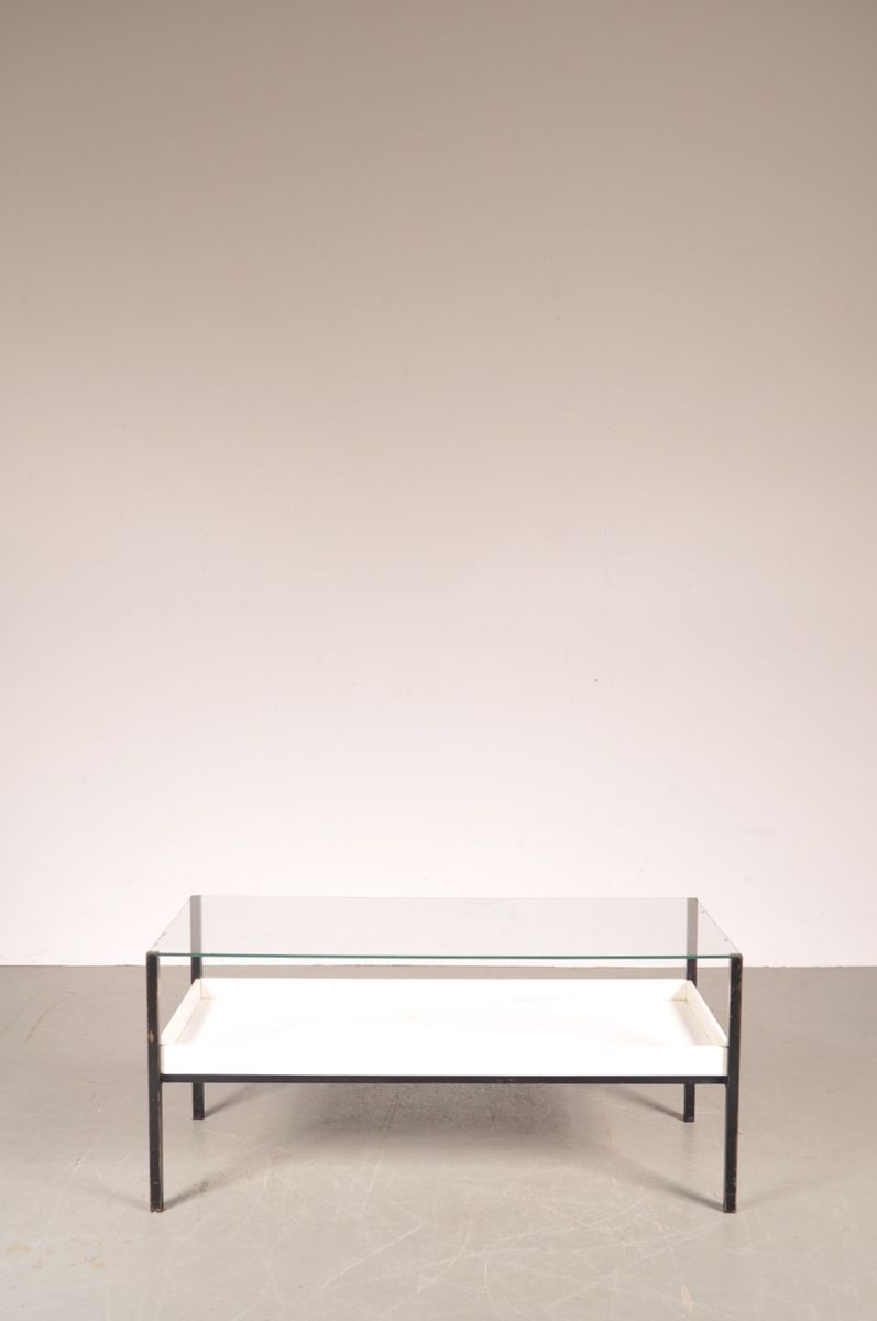 Dutch Glass and White Laminate Coffee Table 1960s for sale at Pamono