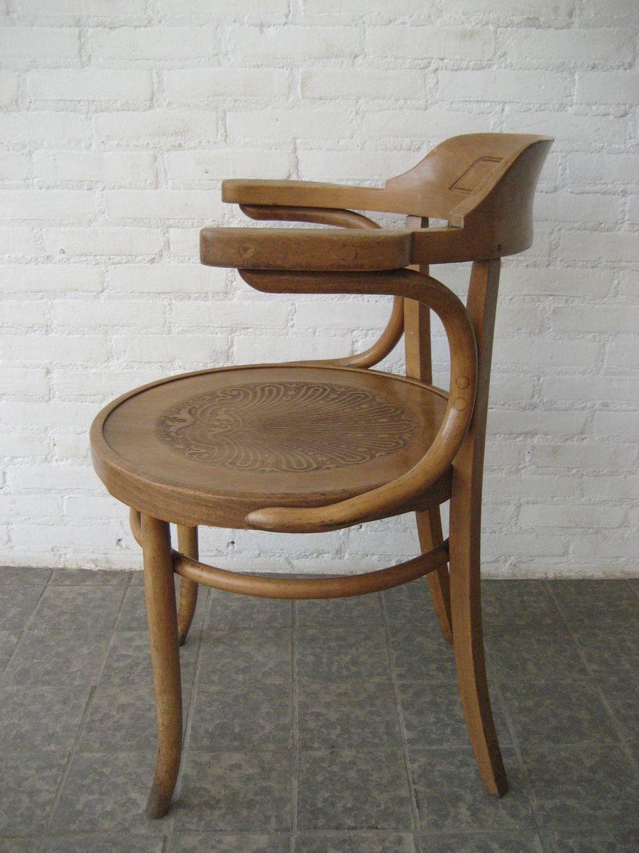 chaise en bois de h tre avec accoudoirs de luterma france 1930s en vente sur pamono. Black Bedroom Furniture Sets. Home Design Ideas