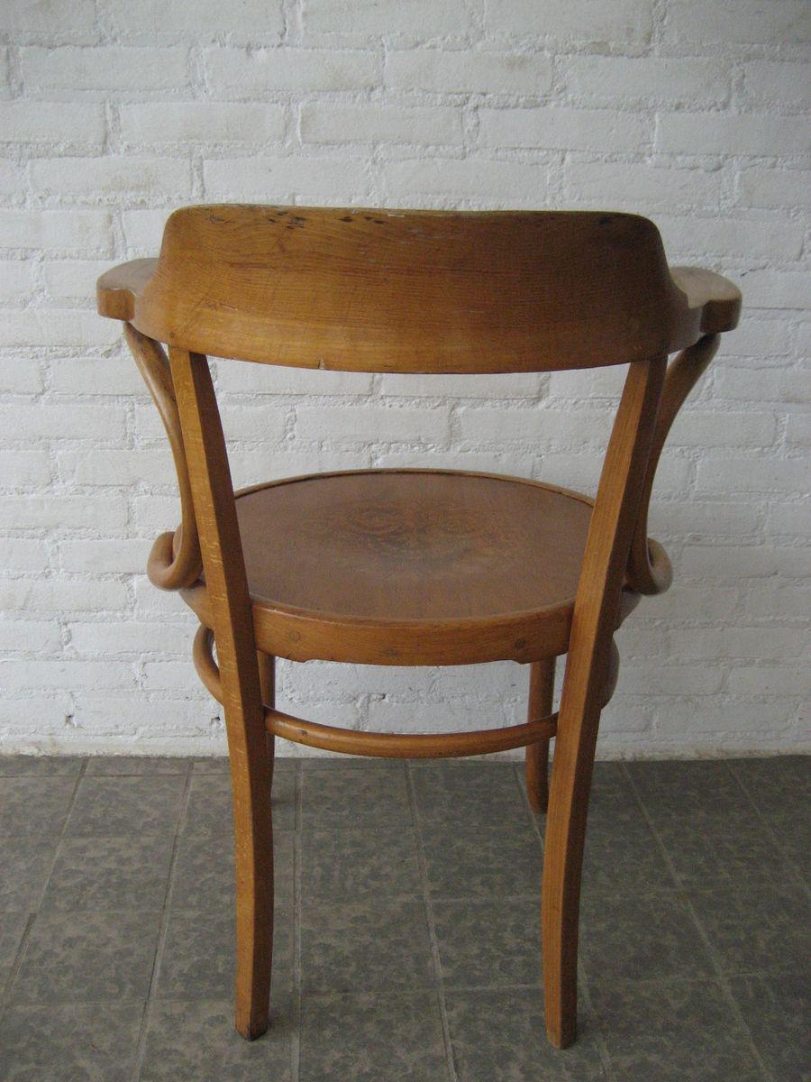 chaise en bois de h tre avec accoudoirs et si ge imprim de luterma france 1930s en vente sur. Black Bedroom Furniture Sets. Home Design Ideas