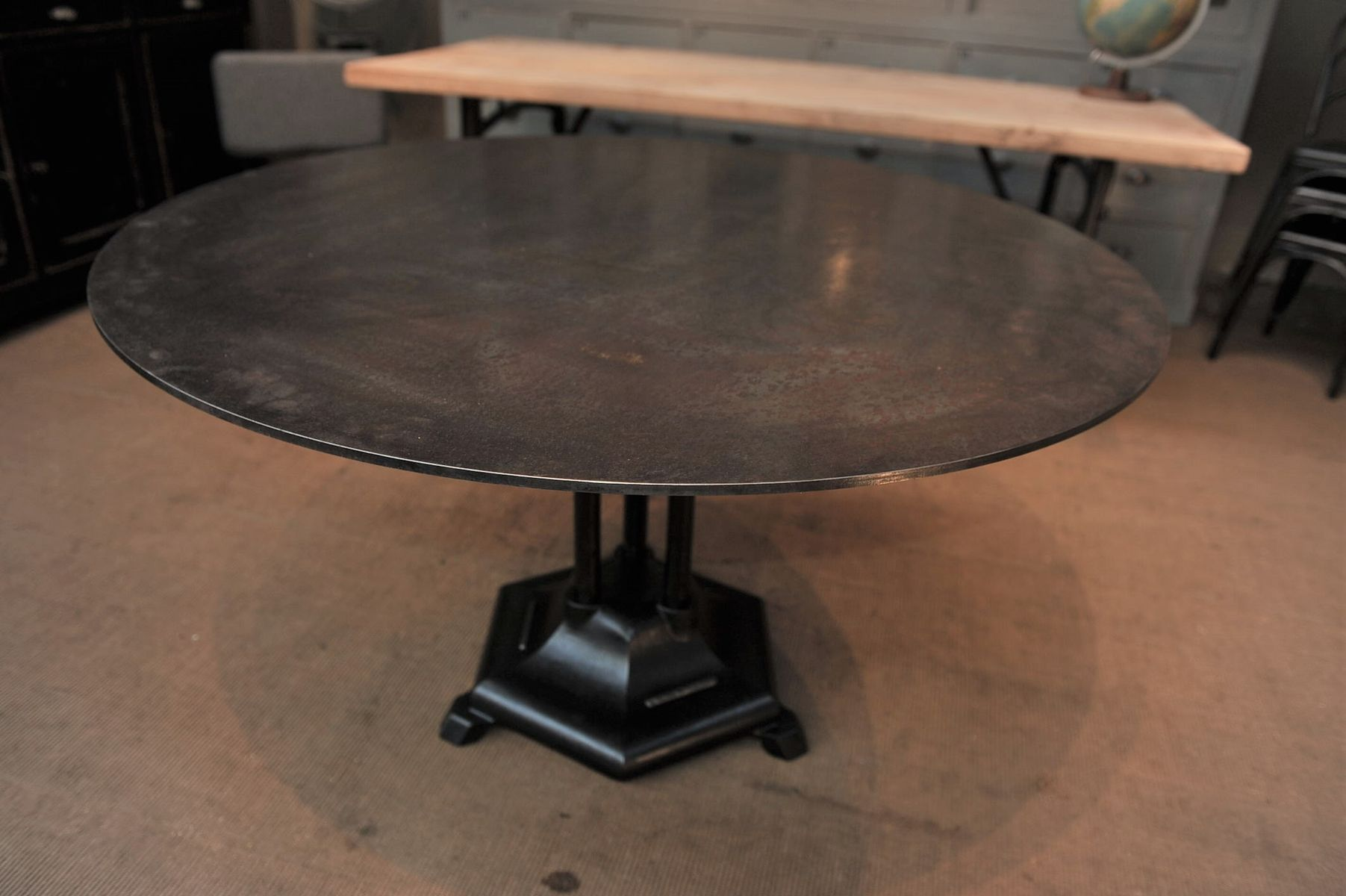 French Industrial Round Iron Dining Table 1930s for sale at Pamono