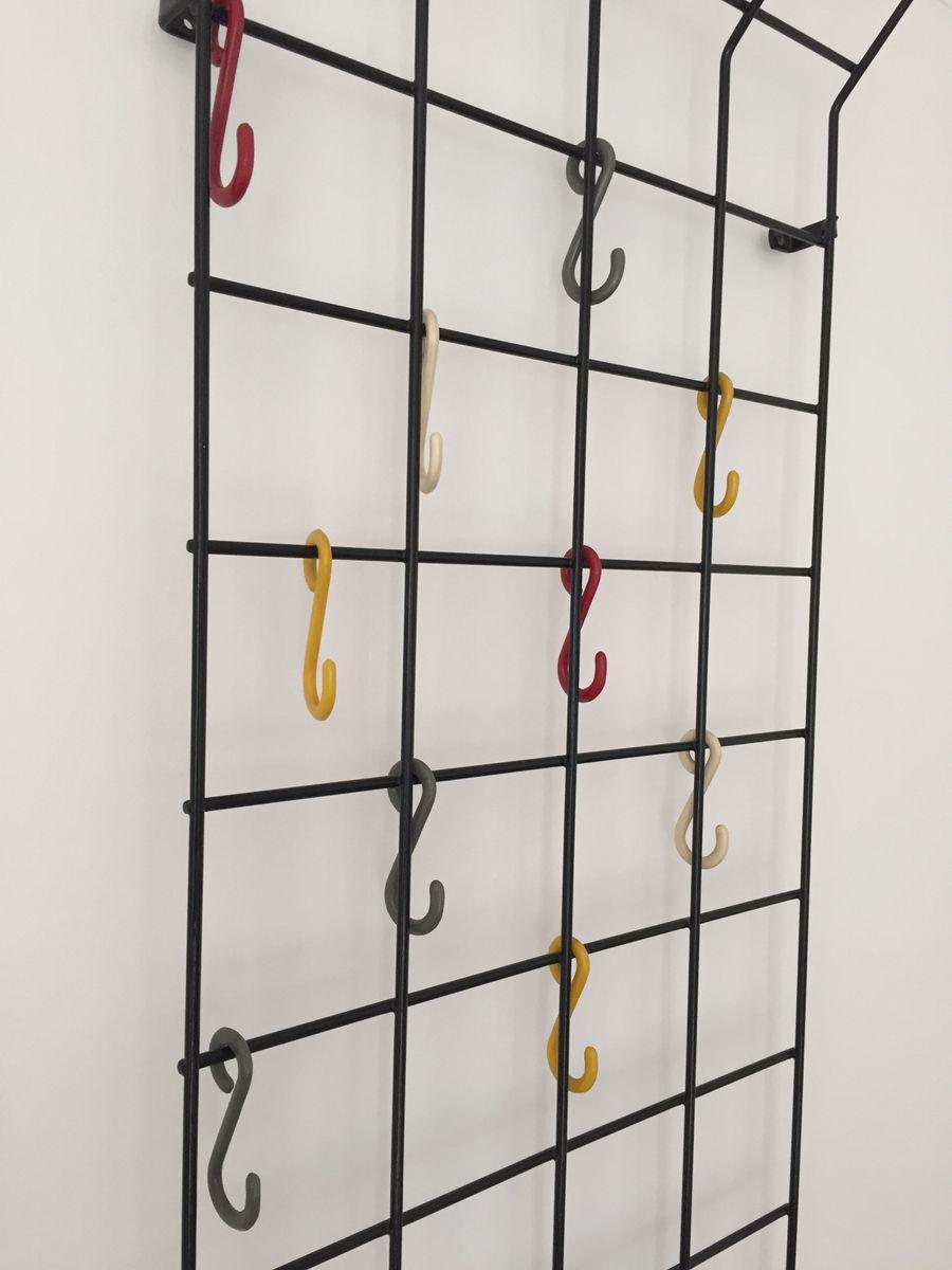 Mid Century German Geometric Grid Coat Rack By Karl