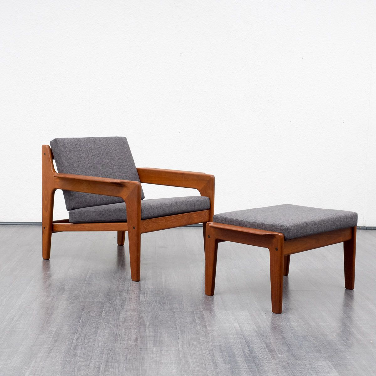 Teak Armchair With Foot Stool By Arne Wahl Iversen For