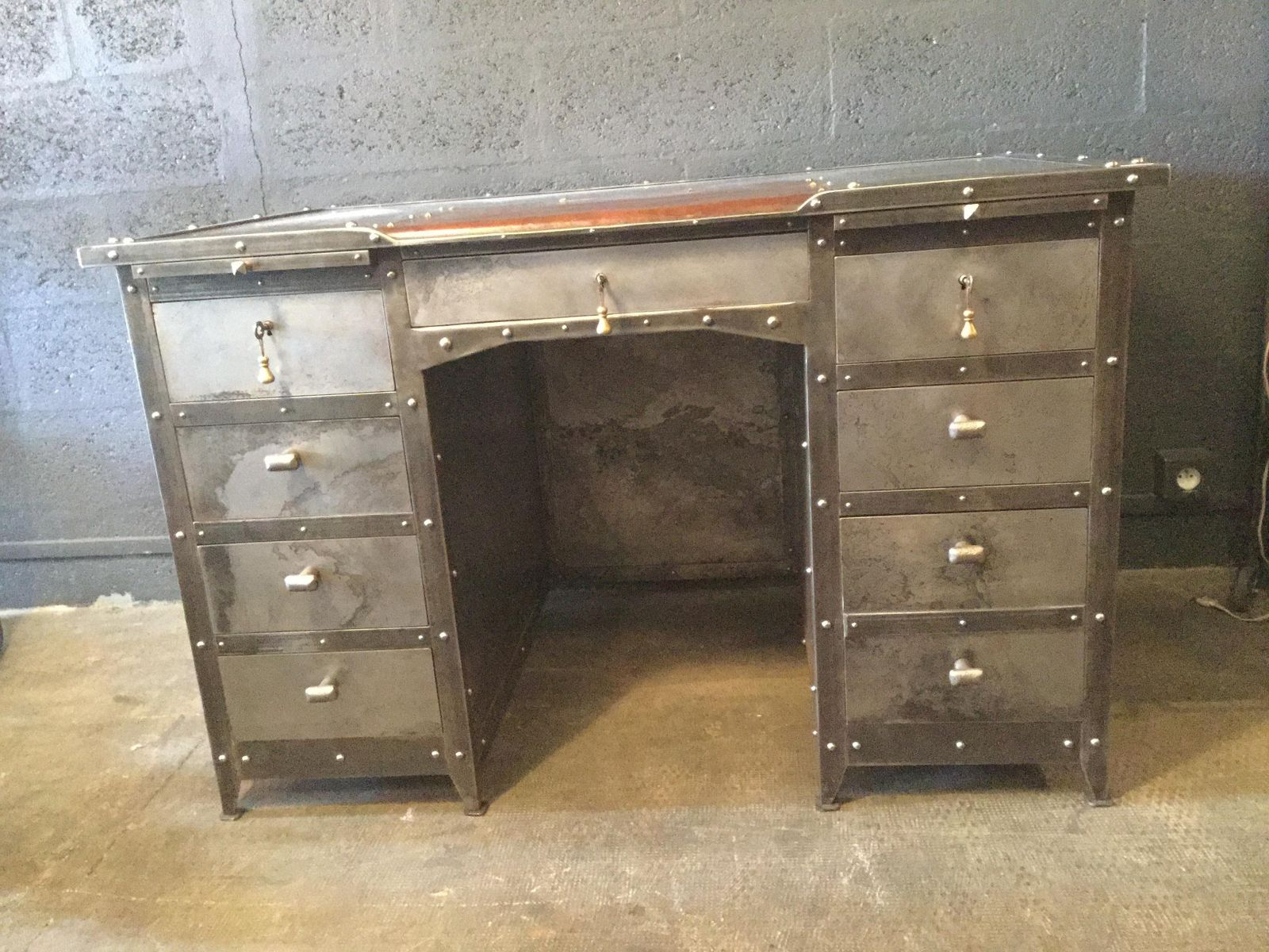 iron leather and oak industrial desk 1990s