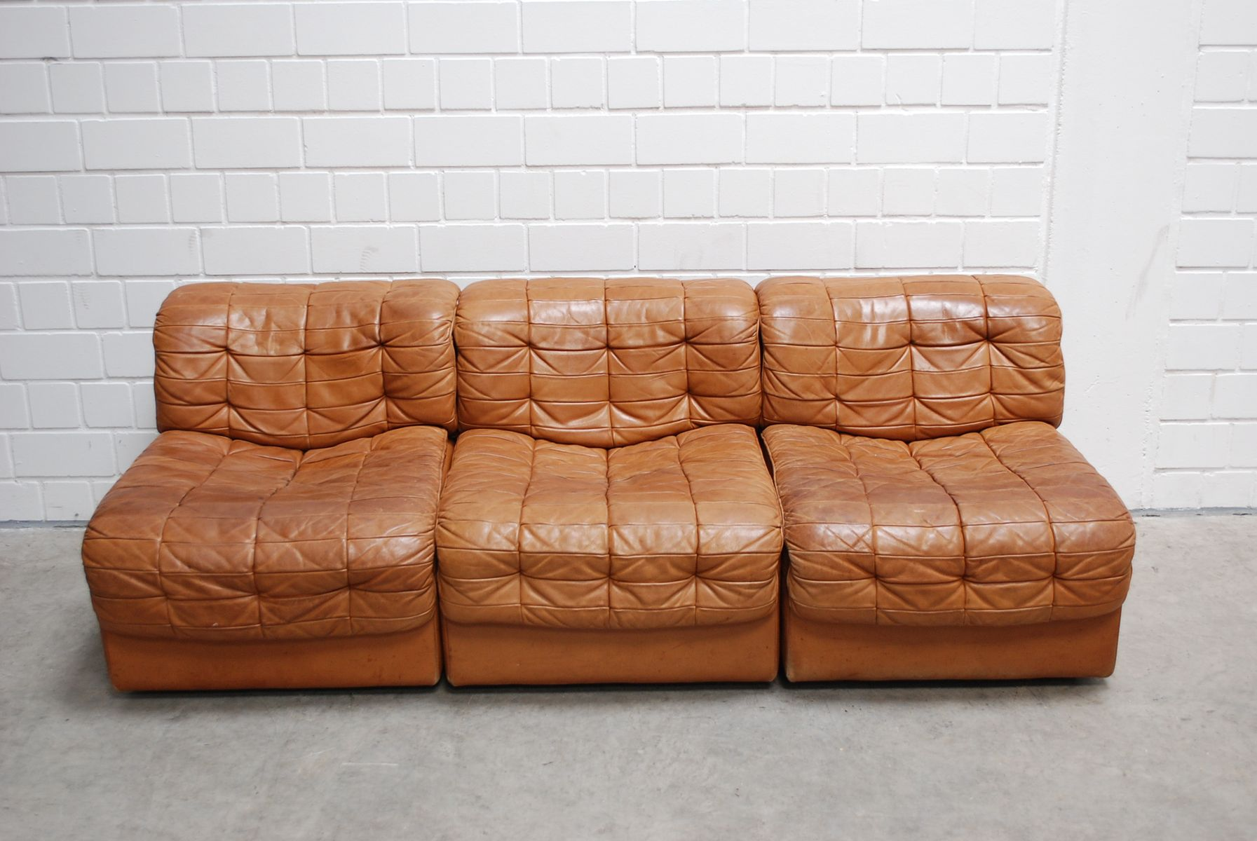 Swiss Modular DS 11 Cognac Leather Sofa from De Sede 1985 for
