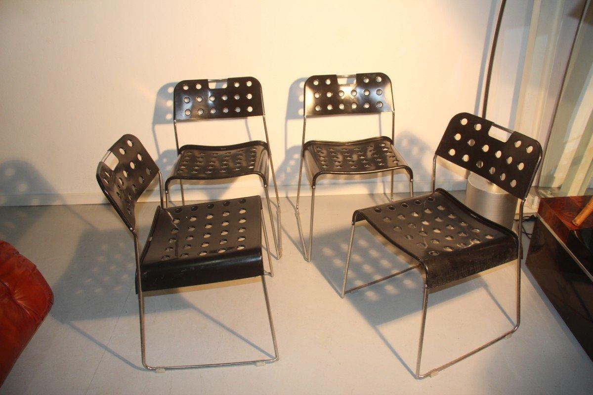 schwarze st hle von rodney kinsman f r bieffeplast 4er. Black Bedroom Furniture Sets. Home Design Ideas