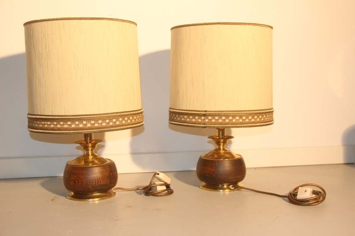 Italian Wood Brass Table Lamps 1950 Set of 2 for sale at Pamono