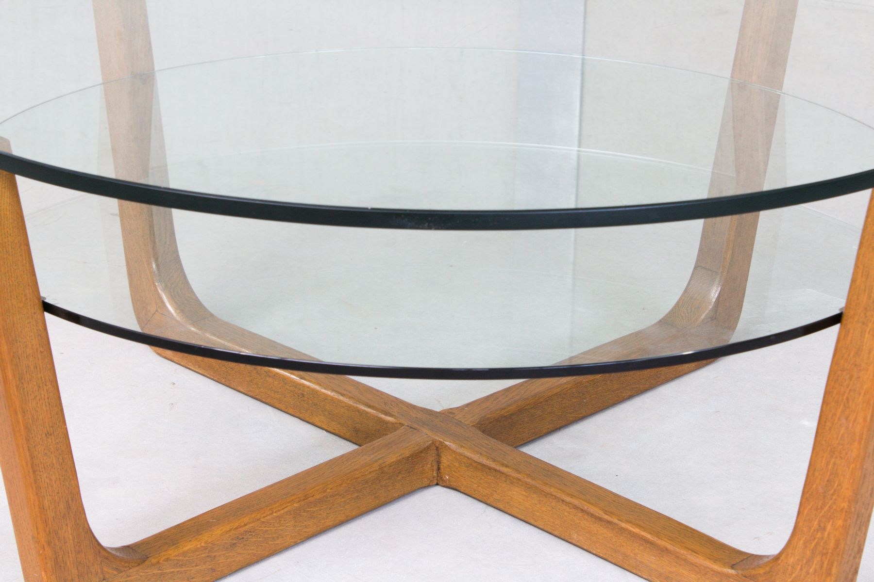 Two tiered glass and wenge coffee table for sale at pamono - Table wenge ikea ...