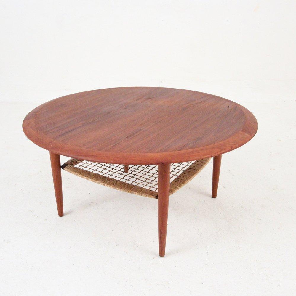 Teak Coloured Coffee Table: Danish Round Teak Coffee Table For Sale At Pamono