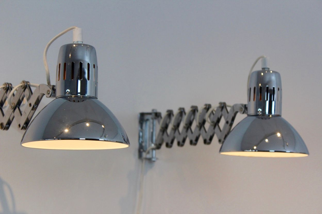 Wall Lamps Chrome : Chrome Scissor Wall Lamps, 1960s, Set of 2 for sale at Pamono