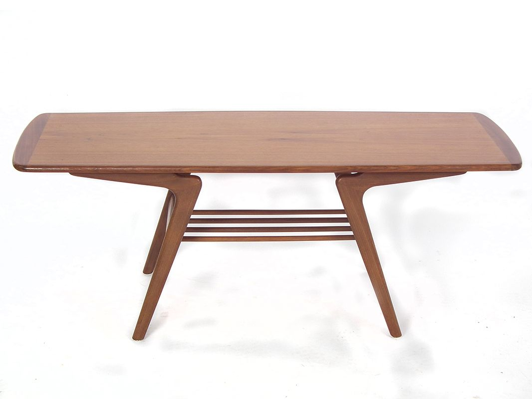 Mid Century Teak Coffee Table With Shelf By Louis Van Teeffelen For W B For Sale At Pamono