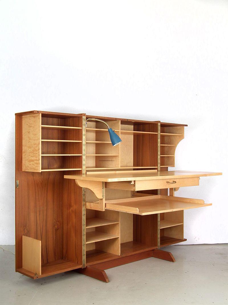 Schweizer Mid Century Schreibtisch In Einem Kasten Von