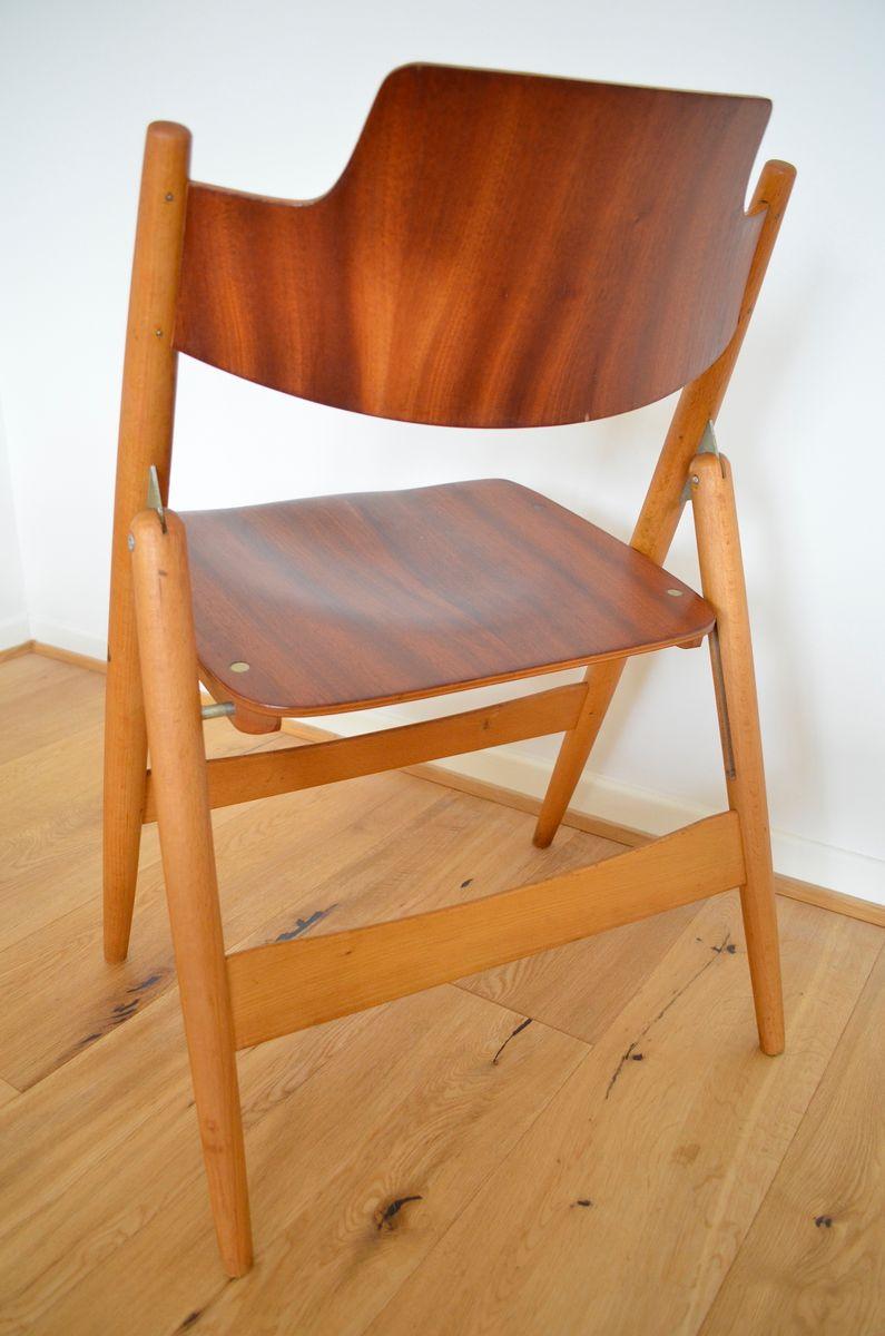 mid century se18 klappst hle aus buche teakholz von egon eiermann f r wilde spieth 4er set. Black Bedroom Furniture Sets. Home Design Ideas