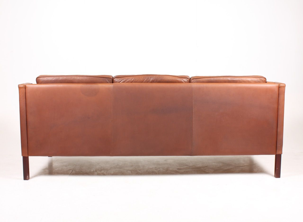Danish three seater leather sofa from stouby 1980s for for Leather sofa 7 seater