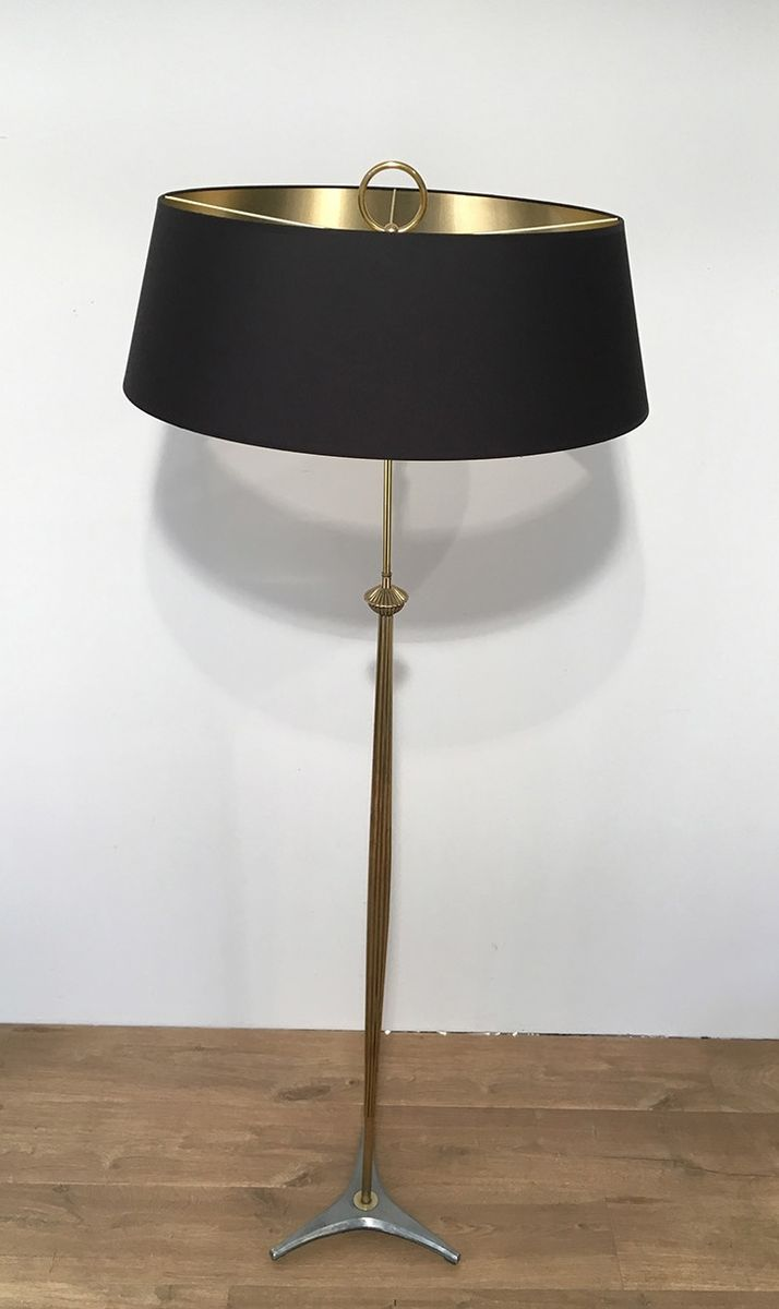 Brass floor lamp with black shade 1960s for sale at pamono for Floor lamp with red shade black